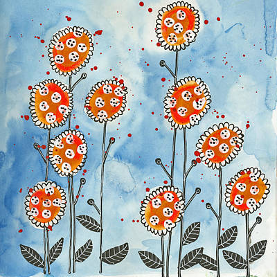 Orange Flowers Art Print by Tonya Doughty