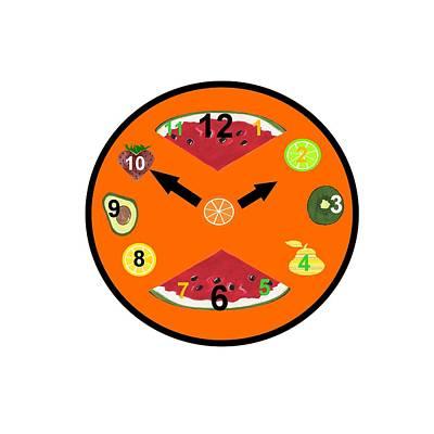 Watermelon Mixed Media - Orange Food Clock by Kathleen Sartoris