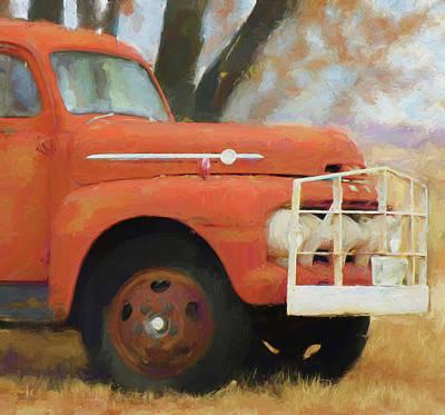 Digital Art - Orange Ford Truck by David King