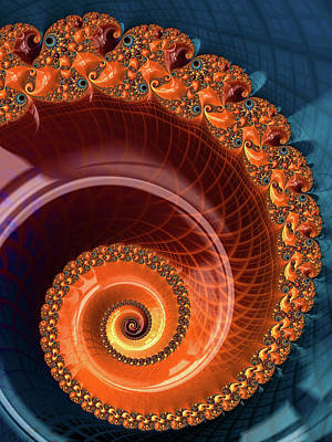 Digital Art - Orange Fractal Spiral by Matthias Hauser