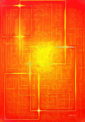 Technical Digital Art - Orange Geometry - Da by Leonardo Digenio