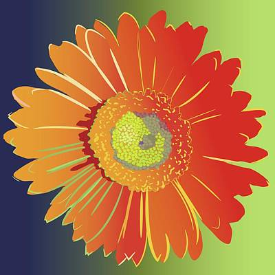 Wall Art - Painting - Orange Gerbera Daisy by Marian Federspiel