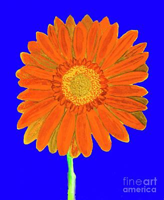 Painting - Orange Gerbera On Blue, Watercolor by Irina Afonskaya