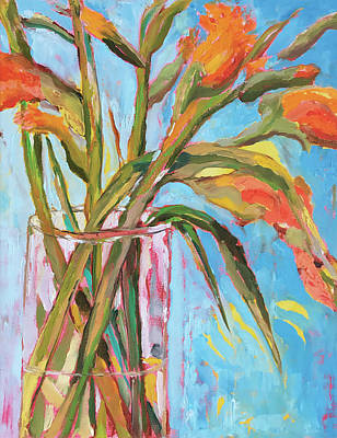 Painting - Orange Gladiolus In Vase by Tai Yee