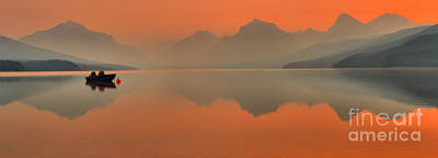 Photograph - Orange Glow Over Lake Mcdonald by Adam Jewell