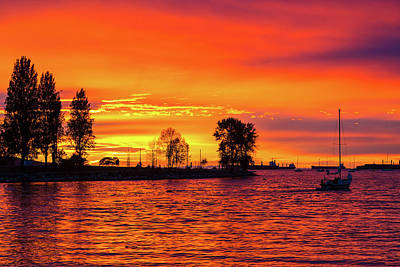 Photograph - Orange Glow Sunset At Sunset Beach In Vancouver Bc by David Gn