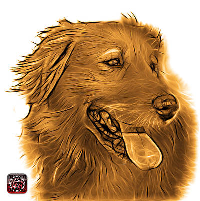 Digital Art - Orange Golden Retriever - 4057 Wb by James Ahn