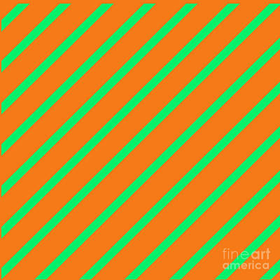 Digital Art - Orange Green Angled Stripes by Susan Stevenson