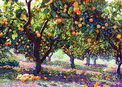 Sun Wall Art - Painting -  Orange Grove Of Citrus Fruit Trees by Jane Small