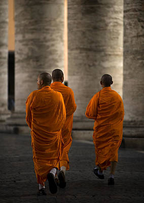 Monk Photograph - Orange Guests by Fulvio Pellegrini
