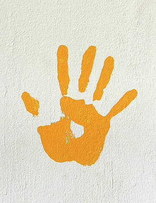 Orange Handprint On A Wall Art Print