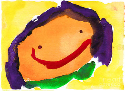 Orange Happy Face Art Print