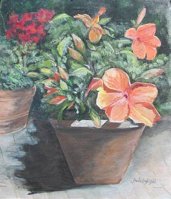 Painting - Orange Hibiscus by Paula Pagliughi