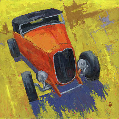 Painting - Orange Hot Rod Roadster by David King