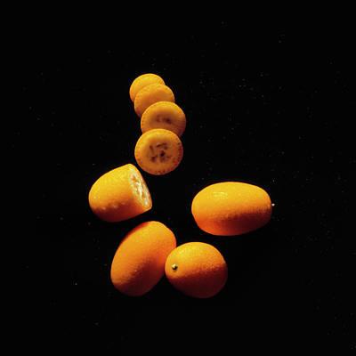 Citrus Fruit On Black Velvet Original by Kim Lessel