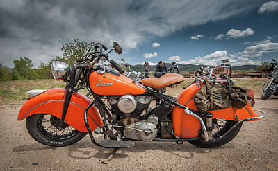 Photograph - Orange Indian Motorcycle by Britt Runyon