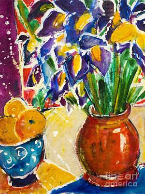 Multi Colored Painting - Orange Iris by Julie Kerns Schaper - Printscapes