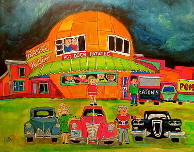 Montreal Icon Painting - Orange Julep Edsel And Friends by Michael Litvack