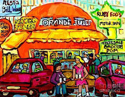 Decarie Hot Dogs Painting - Orange Julep Fast Food Restaurant Decarie Skyline Canadian Painting For Sale Carole Spandau          by Carole Spandau