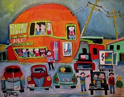 Montreal Icon Painting - Orange Julep Old Car Night by Michael Litvack