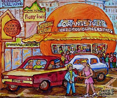 Painting - Orange Julep On Decarie Bill Wong Ruby Foo's Colorful City Scene Original Painting Montreal Memories by Carole Spandau