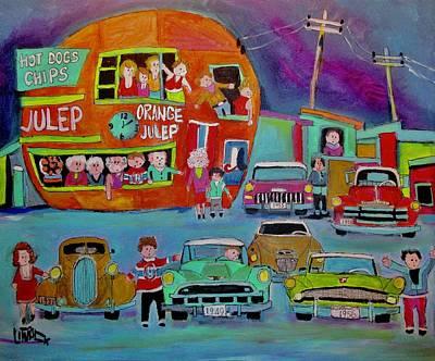Decarie Painting - Orange Julep Studebakers In Montreal by Michael Litvack