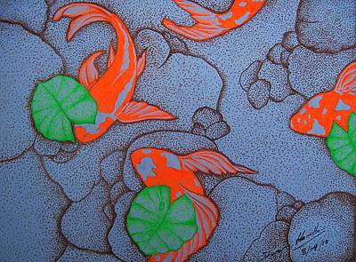 Impressionist Mixed Media - Orange Koi Pond by Dwayne Hamilton
