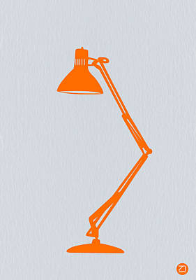 Desk Digital Art - Orange Lamp by Naxart Studio