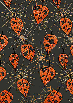 Drawing - Orange Leaves With Holes And Spiderwebs by Boriana Giormova