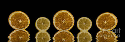 Photograph - Orange Lemon Reflection by Shirley Mangini