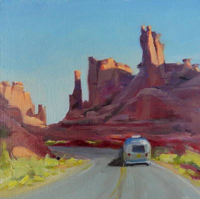 Airstream Trailer Painting - Orange Light On Red Rocks by Elizabeth Jose