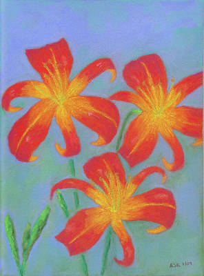 Pastel - Orange Lilies by Anne Katzeff