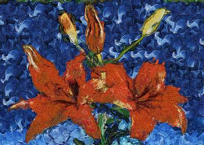 Digital Art - Orange Lilies by Charmaine Zoe