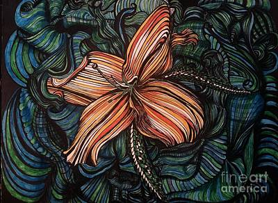 Drawing - Orange Lily by Mastiff Studios