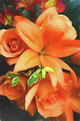 Photograph - Orange Lily Orange Roses Painterly by Mary Bedy