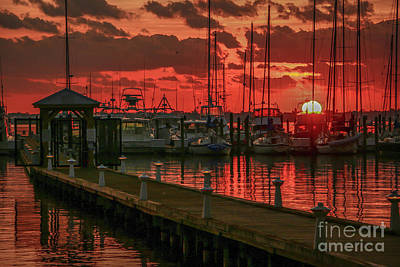 Orange Marina Sunrise Art Print