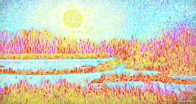 Digital Art - Orange Meadow With Blue Lakes - Boulder County Colorado by Joel Bruce Wallach