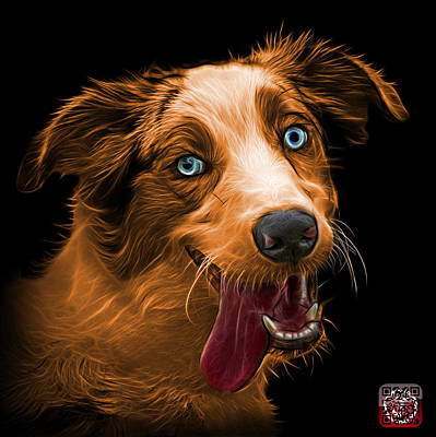 Painting - Orange Merle Australian Shepherd - 2136 - Bb by James Ahn