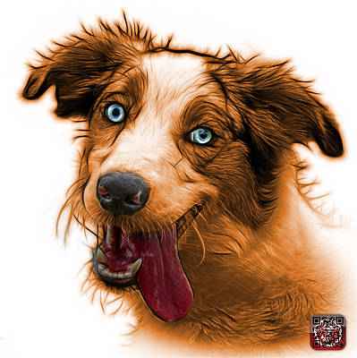 Painting - Orange Merle Australian Shepherd - 2136 - Wb by James Ahn