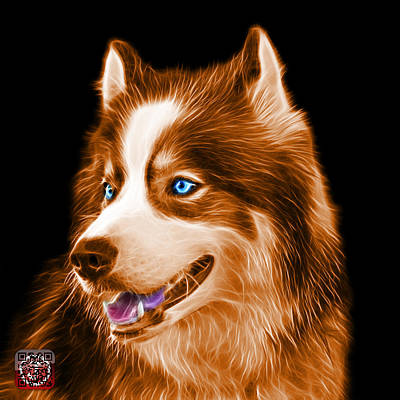 Painting - Orange Modern Siberian Husky Dog Art - 6024 - Bb by James Ahn