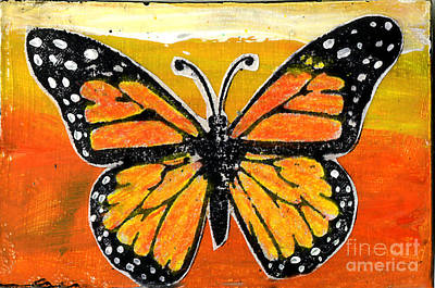 Children Action Painting - Orange Monarch by Genevieve Esson