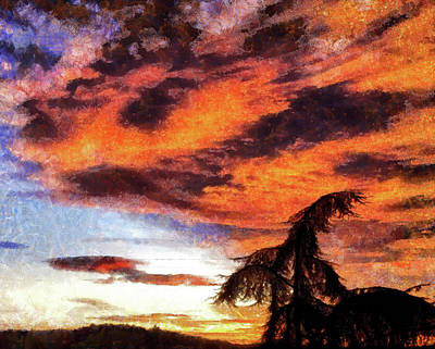 Digital Art - Orange Morning Sky Photo Painting by Matthias Hauser