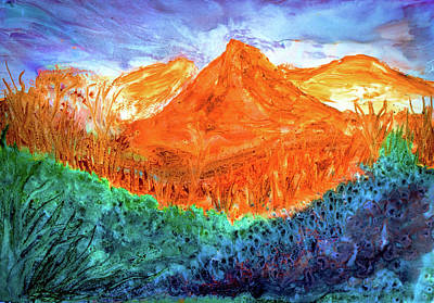 Painting - Orange Mountains by Lilia D