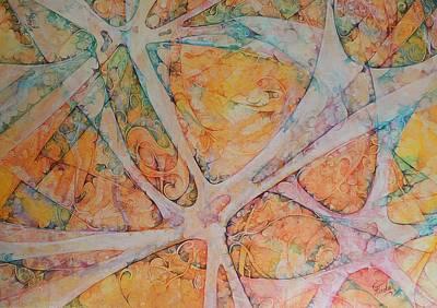 Neuroscience Painting - Orange Neuron by Gabriela Pirolo