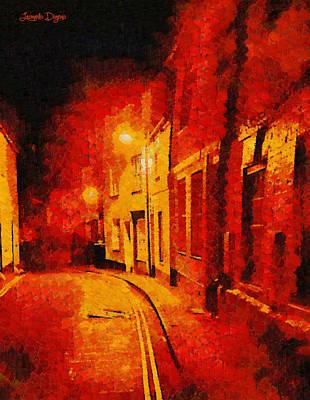 Architecture Digital Art - Orange Night - Da by Leonardo Digenio