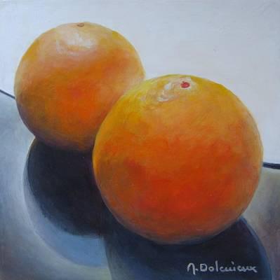 Orange Noir Et Blanc Art Print by Muriel Dolemieux