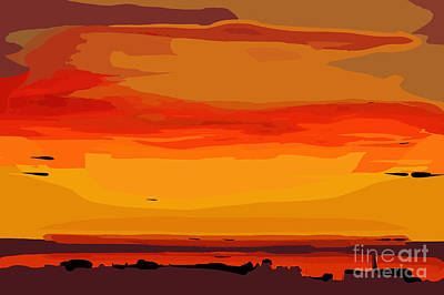 Digital Art - Orange Ocean Sunset by Kirt Tisdale