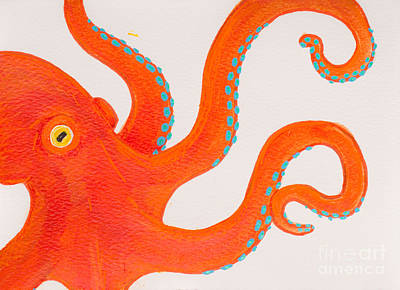 Painting - Orange Octopus by Stefanie Forck