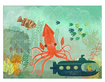 Orange Octopus Underwater With Submarine Print by Gillham Studios