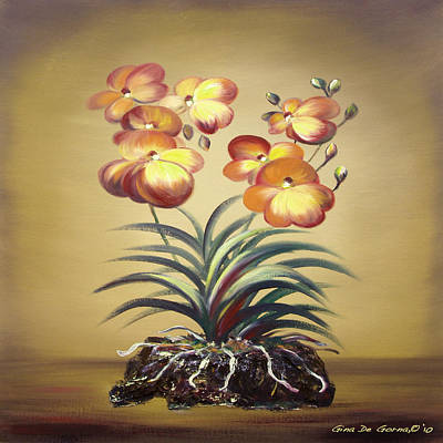 Painting - Orange Orchid Flowers by Gina De Gorna